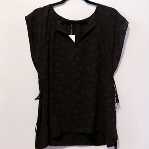 Ann Taylor Polka Dot Blouse Black